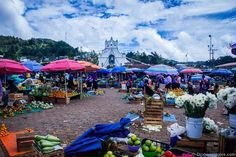Chamula market and its infamous church in the background. Chiapas, Mexico.