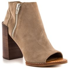 DV by Dolce Vita - Mercy  Price: $125  Meet your favorite new bootie. The Mercy by Seychelles delivers a soft light suede upper with inside zip and faux side decorative zipper. A peep toe keeps you cool while a 4 1/2 inch block heel delivers a boost.