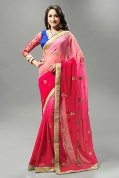 Sarees,Admyrin,Pink Georgette Shaded Saree With Blue and Pink Blouse Piece
