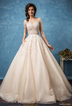 amelia sposa 2017 bridal three quarter sleeves semi sweetheart neckline full embellishment romantic princess ball gown a  line wedding dress with pockets illusion back (cornelia) mv