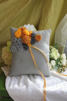 Wedding rolled rose and mum ring pillow grey base by kgdesign