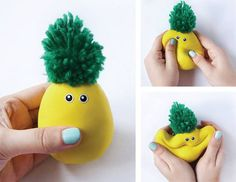 I am in love with this cute pineapple stress ball look! Things you need: flour, yellow balloon, sticky eyes or paper, sharpie and a glue stick. and green yarn. fill your balloon with flour. tie a knot at the top. put the eyes on. glue peices of yarn onto the balloon. let dry and have fun!