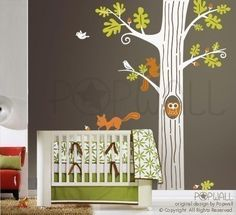 Tree Wall Decal  Animal Friends in Woodland  083  Vinyl by NouWall, $95.00