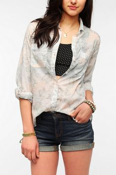 BDG Breezy Slub Button-Down Shirt New Colors Available