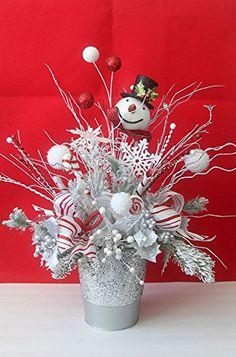 Christmas table centerpiece, Snowman Table Décor, Christmas Arrangement, floral arrangement, holiday arrangement, party decorations, gift