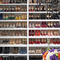 {wishlist features for closet - ample shoe storage & all those shoes} modern closet by Lisa Adams, LA Closet Design