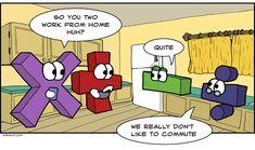 Non commuters subtraction division cartoon Math Puns, Math Memes, Math Humor, Algebra Humor, Funny Math Jokes, Science Humour, Hilarious, Maths, Math Quotes