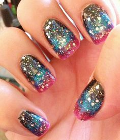 gradient glitter galaxy nails - Favnails