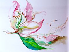 Flowers Painting Abstract Original Watercolor   Pink by LanasArt, $35.00