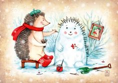 by Elizaveta Melkozerova - Acards. Hedgehog Art, Watercolor Christmas Cards, Vintage Christmas Cards, Vincent Van Gogh, Childrens Christmas Books, Winter Illustration, Christmas Puppy, Paperclay, Christmas Pictures