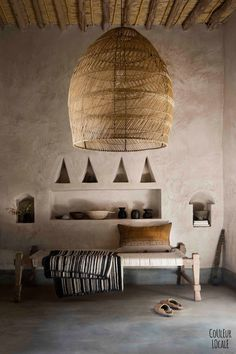 beautiful Moroccan home decorated by Couleur Locale - hand woven pendant lamp shade, hand made furnishings, hand finished Tadelakt (traditional plaster walls) Interior Exterior, Home Interior, Interior Architecture, Interior Decorating, Bohemian Interior, Amazing Architecture, Moroccan Interiors, Moroccan Decor, Rustic Interiors