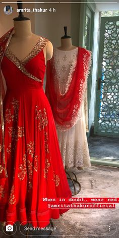 It's the season to RED ❤️❤️❤️❤️. Just in time for Karwa Chauth Shop the festive collection at our store in Delhi and be festive season ready ❤️❤️❤️❤️. Dress Indian Style, Indian Fashion Dresses, Indian Gowns, Indian Attire, Ethnic Fashion, Pakistani Dresses, Indian Wear, Women's Fashion, Designer Party Wear Dresses
