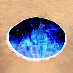 "Enchanted Castle Round Beach Towel by Johari Smith.  The beach towel is 60"" in diameter and made from 100% polyester fabric."