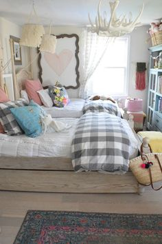 Vintage Bedroom Girls Bedroom- Shop The Girls Room - … Room, Shared Girls Room, Teenage Girl Bedroom Designs, Bedroom Design Diy, Bedroom Design, Home Decor, Shared Room, Woman Bedroom, Cute Bedroom Ideas