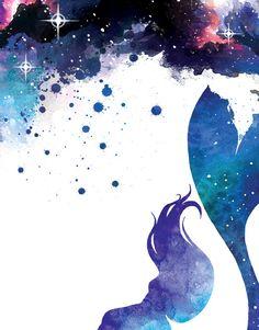 Watercolor Mermaid printable art  Galaxy Mermaid Painting