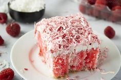 This Raspberry Zinger Poke Cake will quickly become one of your favorite desserts to make. It's easy and resembles those little Zinger cakes you enjoyed as Raspberry Zinger Cake, Raspberry Cake Filling, Zinger Cake Recipe, Coconut Poke Cakes, Homemade White Cakes, Poke Cake Recipes, White Cake Mixes, Cake Fillings, Desserts To Make