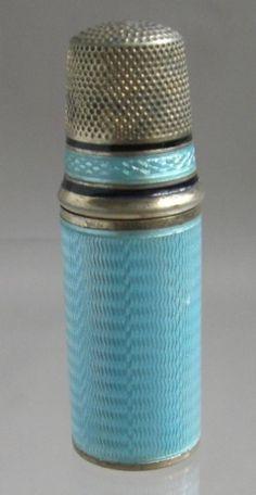 antique silver & enamel needle case - thimble ♥