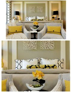 Bowls are creatively hung on the wall ... adore the citron, silver, whiate and black color scheme! #coachbarn #wallart