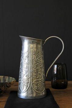Floral Metal Water Jug