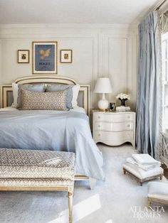 Interior designer Suzanne Kasler has designed a glamorousmaster-suite for her own home… love the soft blue, white and gold accents. photos by erica george dines for atlanta homes xx debra
