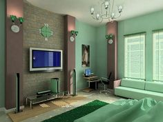 5 collections bedroom interior design that favored wife of Barack Obama Green Bedroom Colors, Green Bedroom Design, Green Master Bedroom, Green Interior Design, House Paint Interior, Master Bedroom Interior, Bedroom Paint Colors, Bedroom Color Schemes, Bedroom Decor
