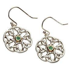 Celtic Silver Trinity Stone Set Earrings