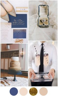 Top Wedding Colour Schemes for 2016/2017 - Modern Navy Blue & Gold. A navy blue and gold palette is the ideal modern take on the formal black tie wedding. This super chic mix of colours is all at once smart and glamorous and allows couples to have some fun adding gorgeous golds to really dress it up.