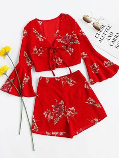 Cheap women set, Buy Quality top with shorts directly from China two set Suppliers: SHEIN Womens Sets Two Piece 2017 Red Floral Falre Sleeve V Neck Lace Up Crop Top With Shorts Sexy Women Summer Set Dress Outfits, Girl Outfits, Casual Outfits, Cute Outfits, Fashion Outfits, Womens Fashion, Bell Sleeve Dress, Bell Sleeves, Short Sexy