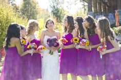 hot pink bridesmaids inspiration a hot pink & sunflowers wedding in North Carolina