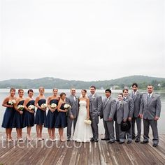 Navy Blue Bridesmaids dresses/Gray suits