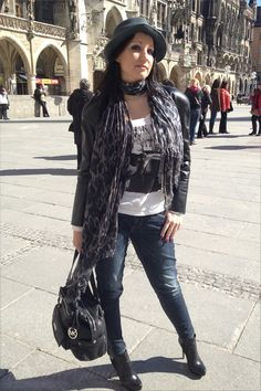 Munich City Fashion Style on a sunny spring day... - comfortable leather jacket, combined with scarf and hat...