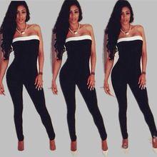 9cae17f122f48 2015 Fashion Women Jumpsuit Bodycon Slim Jumpsuits Strapless Women Union  Suit Overalls Bandage Sexy Jumpsuits women