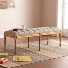Upton Home Marian Grey Upholstered Bench | Overstock.com Shopping - The Best Deals on Benches