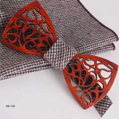 Hollow Cutting Chinese Style Mens Wooden Bow Ties With Wool Pocket Squares WB-15B