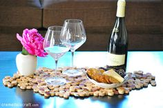 DIY Wine Cork Crafts for the Kitchen - DIY Wine Cork Placemat - DIY Projects & Crafts by DIY JOY