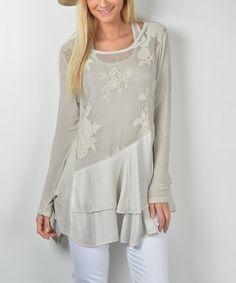 Look at this #zulilyfind! Beige Floral Tiered-Hem Silk-Blend Top #zulilyfinds