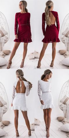 189adc4e6a97 fashion long sleeve lace short dress, elegant jewel burgundy lace party  dress, sexy open
