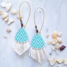 Turquoise earrings with fringe