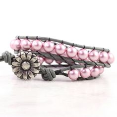 Pink Pearl Wrap Bracelet Gray Leather Summer Fashion Boho Jewelry Dusty Rose Double Wrap Flower via Etsy