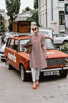 Zara striped shirt dress, Mango red and white striped dress, stripe, print, topshop white pants, asos white tailored suit trousers, h&m suede orange kitten heels, boohoo slingbacks, office suede slingbacks, rivers island woven bag, straw bag, raffia bag, the hottest bag for summer 2017, bloomed peonies inside a straw bag, red cat eye sunglasses, retro sunnies, silver statement earrings, andreea birsan, couturezilla, tumblr cute spring outfit ideas 2017, red lipstick, how to wear sling back…