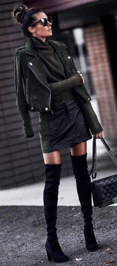 what to wear with over knee boots : biker jacket + sweater + bag + skirt