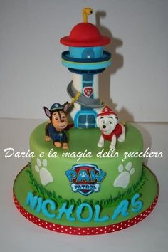 My cake Paw Patrol for Nicholas. The cake is stuffed with camy cream and strawberry gelèè and covered with sugar paste. Paw Patrol Birthday Cake, 4th Birthday Cakes, Paw Patrol Party, 4th Birthday Parties, Birthday Ideas, Paw Patrol Tower, Paw Patrol Lookout, Cake Disney, Torta Paw Patrol
