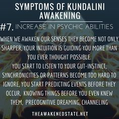Symptoms of Kundalini Awakening Increase in Psychic AwarenessFor some reason you just KNEW she was going to ask you about taking the garbage out before you even could think it. You seem to find your car keys without much thought after misplacing. Kundalini Yoga, Pilates Reformer, Qi Gong, Mantra, New Energy, Psychic Abilities, Spiritual Growth, Spiritual Thoughts, Spiritual Health