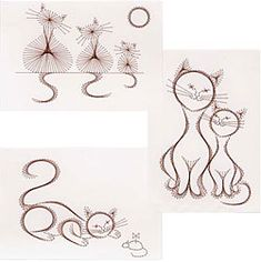 **I've been looking for a site with downloads for string art!  FOUND IT!** The Cat Set comes with numbered diagrams, pricking patterns and step-by-step instructions for the stitching.    It is delivered by download to your computer.    Pattern size 152 x 104 mm (6 x 4 inches).  Price: £2.50 British currency