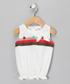 Take a look at this Soft Cream Ribbon Bubble Top  - Infant, Toddler & Girls by the Mini Sissy on #zulily today!