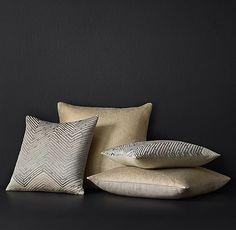 Luxe Metallic Ombré Pillow Cover & Basket Weave Pillow Cover - metallic pattern in gold, silver, etc.