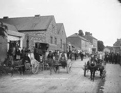 Meadowvale Dairy Company, Charleville  A traffic jam at the creamery in Charleville, Co. Cork. From this photo and other similar creamery ones, it looks as if it was woman's work to take the milk in to the creamery at this time...     Photographer: Almost certainly Robert French of Lawrence Photographic Studios, Dublin     Date: Between circa 1909 and 1912     NLI Ref.: L_ROY_10428