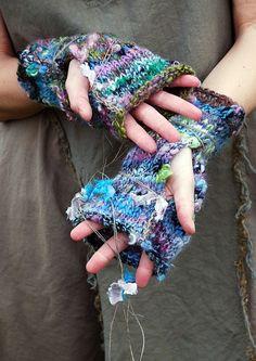 Lush Lagoon Fingerless Gloves Handknit with Recycled Sari Handspun Yarn
