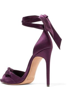 Alexandre Birman - Jessica Bow-embellished Satin Sandals - Grape