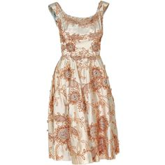 1950's Ceil Chapman Rhinestone Metallic Floral Ivory-Satin Dress at... ❤ liked on Polyvore